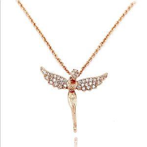 925 rose gold angel crystal necklace